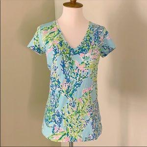Lilly Pulitzer Blue Heaven V Neck T Shirt